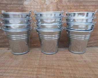 36 Mini Silver Tin Metal Pails, Favor Size, DIY Weddings, Rustic Decor, Galvanized Buckets