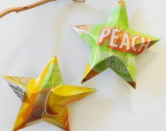 Peach Soda Stars Christmas Ornaments Soda Can Upcycled