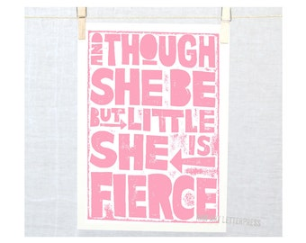 And though she be but little, Wall Art, Mothers Day, typography, Raw Art Letterpress, Preemie Nursery, Shakespeare Quote, Nursery Art Print