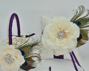 Purple and Ivory Peacock Flower Girl Basket and Pillow