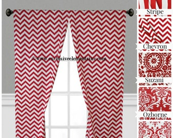 Red Curtain Panels Modern Geometric Chevron Damask Stripe Drapery Red Window Treatments Set Pair
