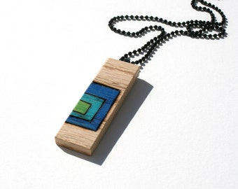 Oak Pendant Necklace, Original Art, Prismacolor Pencil, One of a Kind Jewelry, Wood Burned, Pyrography
