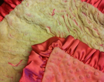 """Ultra Soft Coral And Cream Minky 21""""x21"""" """"My Little Blanket"""""""