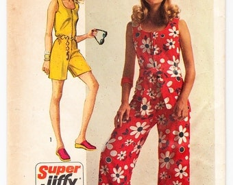 Vintage 1970 Simplicity 8787 Sewing Pattern Misses' Super Jiffy JumpSuit in Two Lengths Size 14 Bust 36