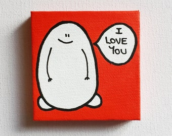 Say it with a Chep - I Love You - Acrylic Painting On Canvas - Original - Tiny Miniature Painting