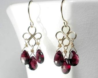 Garnet Drop Earring, Red Drop Earring, Garnet Chandelier Earring