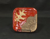 Square Plate with Oak Leaf and Texture