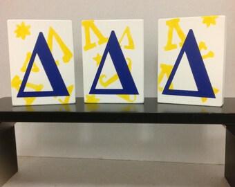 Tri Delta shelf sitters Greek letters sorority