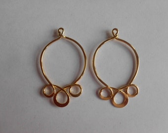 Solid Brass Earring & Pendant Findings / Parts - Gold Plated- Vintage 1960's -Mint Stock