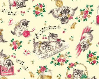 Little World Cotton Fabric Quilt Gate LW1904-12A Kittens on a light cream background