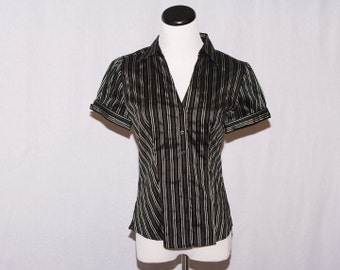 Black White and Silver  Pinstripe Button Down Front Blouse Top Size Small