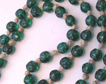 Looong Green Flapper Beads Glass Necklace - 6 Feet