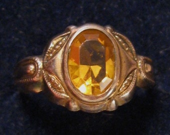 Victorian Gold Filled Amber Rhinestone Ring - Sz 6