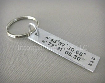Keychain with custom coordinates and initials, Gifts for Men and Women, Customized keychain, First Kiss Location, Memorable Place, First Met