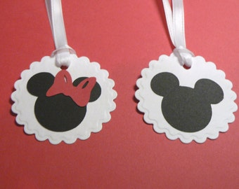 Mickey And Minnie Mouse Gift Favor tags