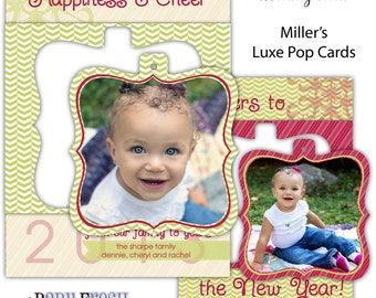 Instant Download - Photoshop PSD layered Templates for Photographers - Miller's Luxe Pop Card - Holiday card - Sharpe family design