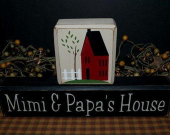 Mimi and Papa's House custom personalized primitive wood blocks sign