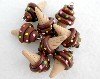 Polymer Clay Ice Cream Cone Charms, Set of 8
