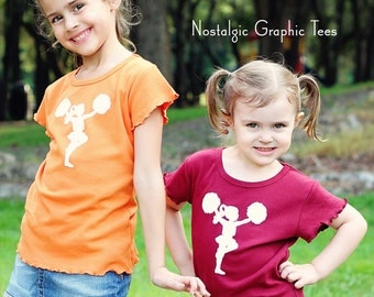 Little Cheerleader by Nostalgic Graphic Tees with Lettuce Sleeve and Hem