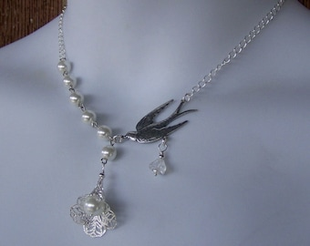 Swallow Necklace - Victorian Filigree - Silver and Pearls Sparrow - Flying Free