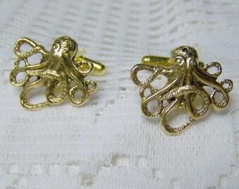 Gold OCTOPUS Cuff links, STEAMPUNK, Victorian Style, Formal Wear, Wedding cuff links, Kraken cuff links, under the sea cuff links, cufflinks