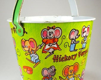 Hickory Farms Tin Beach Pail, Dancing Mice, Cheese, Green, Pink, Advertising, Promotional