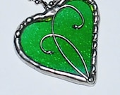 Green Heart necklace recycled from Jagermeister Bottle