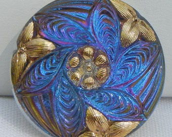 Leaf Cluster Czech Glass Button