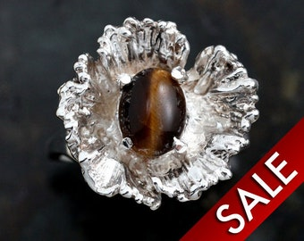 Silver Jewelry Tiger Eye Ring Sterling Silver Ladies Size 5 1/2