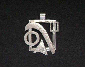 Sterling Silver Contemporary Abstract Pendant