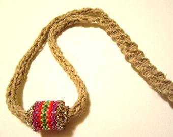 Hemp Necklace Peyote Stitch Beaded Bead