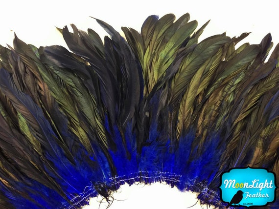 Rooster Feathers, 2.5 Inches - NAVY Half Bronze Coque Tail Strung feathers: 598