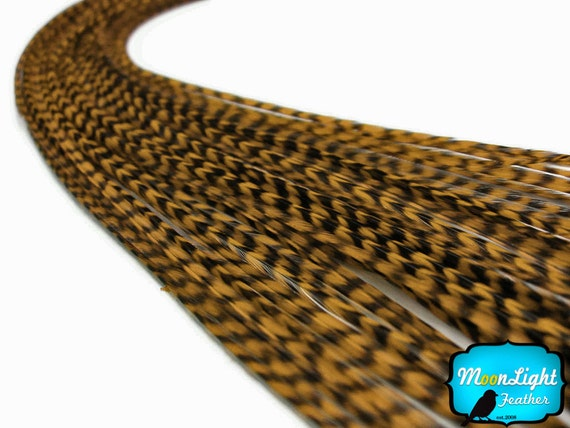 Hair Feathers, 1 Piece - GOLDEN OLIVE Thin Long Grizzly Rooster Hair Extension Feather & Silicon Bead : 1506