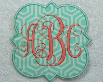 Iron on Monogram Quatrefoil Swirly Triple Monogram Embroidered Iron On Patch MADE TO ORDER