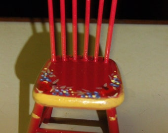 Handpainted Miniature kitchen chair  red with fruit