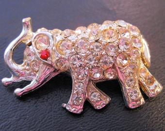 Art Deco Elephant Rhinestone Brooch Rhodium Plated Vintage Jewelry Jewellery