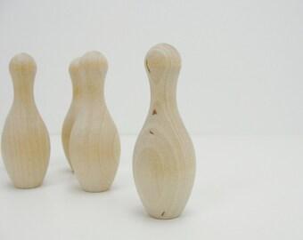 Miniature bowling pins, bowling pins, wooden bowling pins, set of 5