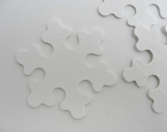 """Wooden snowflake white DIY 3"""" set of 5"""