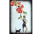 cat art pet collage vintage home decor shabby chic woman flower red tagt team