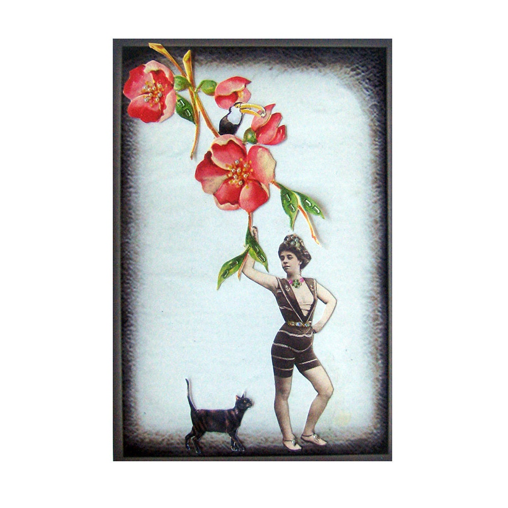Cat Art Pet Collage Vintage Home Decor Shabby Chic Woman