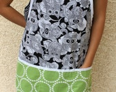 Black Owls with green circles full size apron, one size fits most, great gift and Mothers Day present