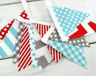 Bunting Banner Mini, Fabric Banner, Fabric Flags, Baby Nursery Decor - Aqua Blue, Red, Gray, Chevron, Dots, Grey, Gingham, Stripes