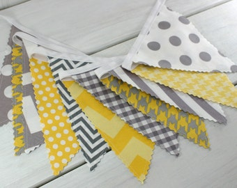 Banner Bunting, Photography Prop, Fabric Flags, Photo Prop,  Birthday Decoration, Nursery Decor - Gray and Yellow Chevron