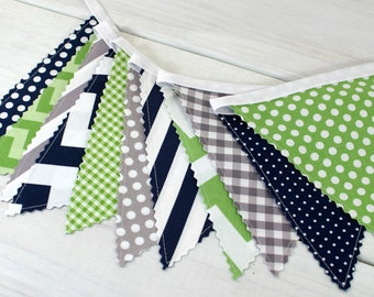 Bunting Banner,Photography Prop,Fabric Flags,Nursery Decor,Home Decor,Birthday Decoration,Garland,Pennant,Green,Gray,Navy Blue,Grey,Chevron