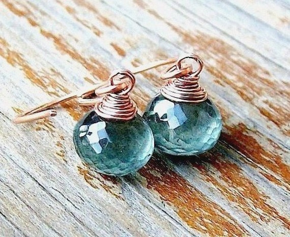 Moss Aquamarine Earrings / Rose Gold Jewelry / March Birthstone / Earthy, Forest Green Gemstone Gift For Her
