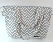 ECO Friendly Market Tote Bag  / Grey CHEVRON zig zag /  satchel  /  shoulder bag / messenger strap / made in the USA by Darby Mack