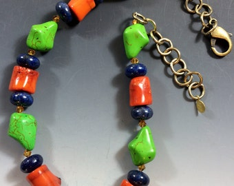 Calypso Coral, Blue Lapis, Lime Turquoise, Topaz Swarovski Crystal Necklace with Brass Clasp & Adjustable Length Chain-2165N