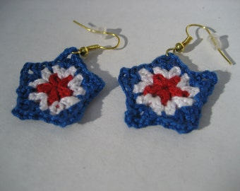 Labor Day Earrings red, white and blue crocheted star earrings