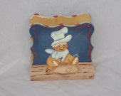Hand Painted Napkin Holder with Gingerbread Man