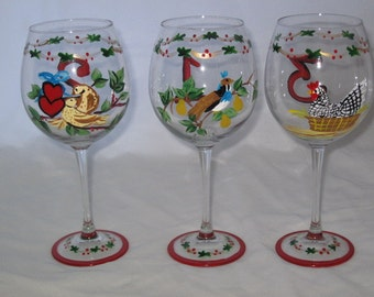 Hand Painted Twelve Days of Christmas set of 12 Wine Glasses